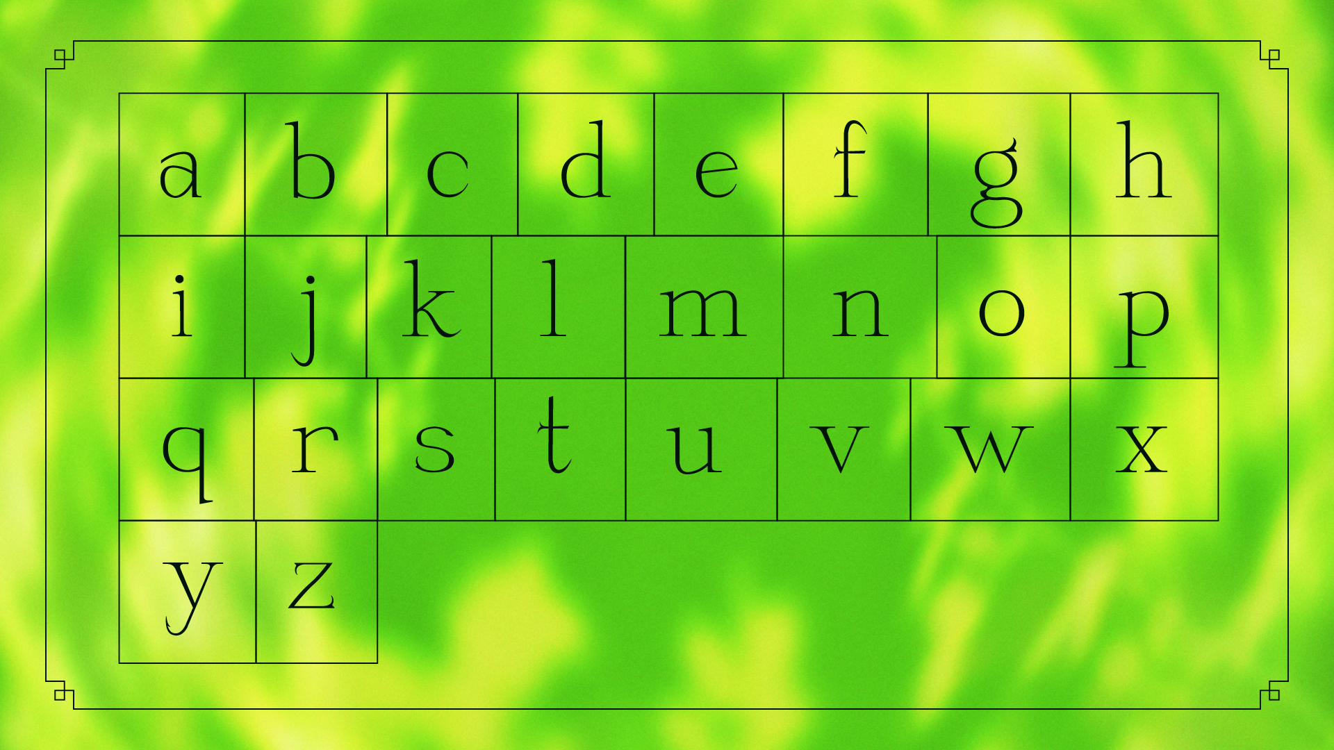Tigana Lowercase Characters