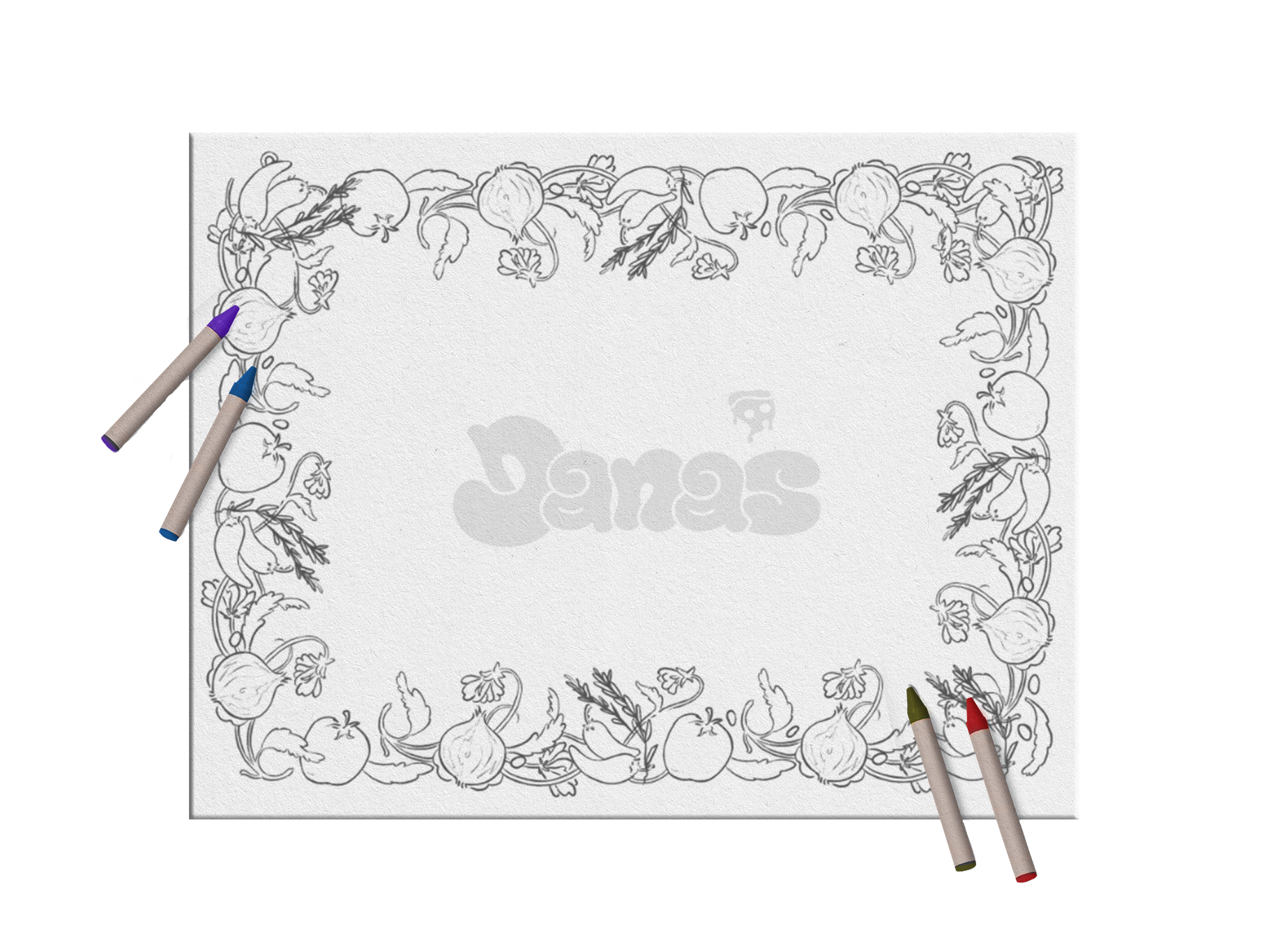 A childrens colouring placemat
