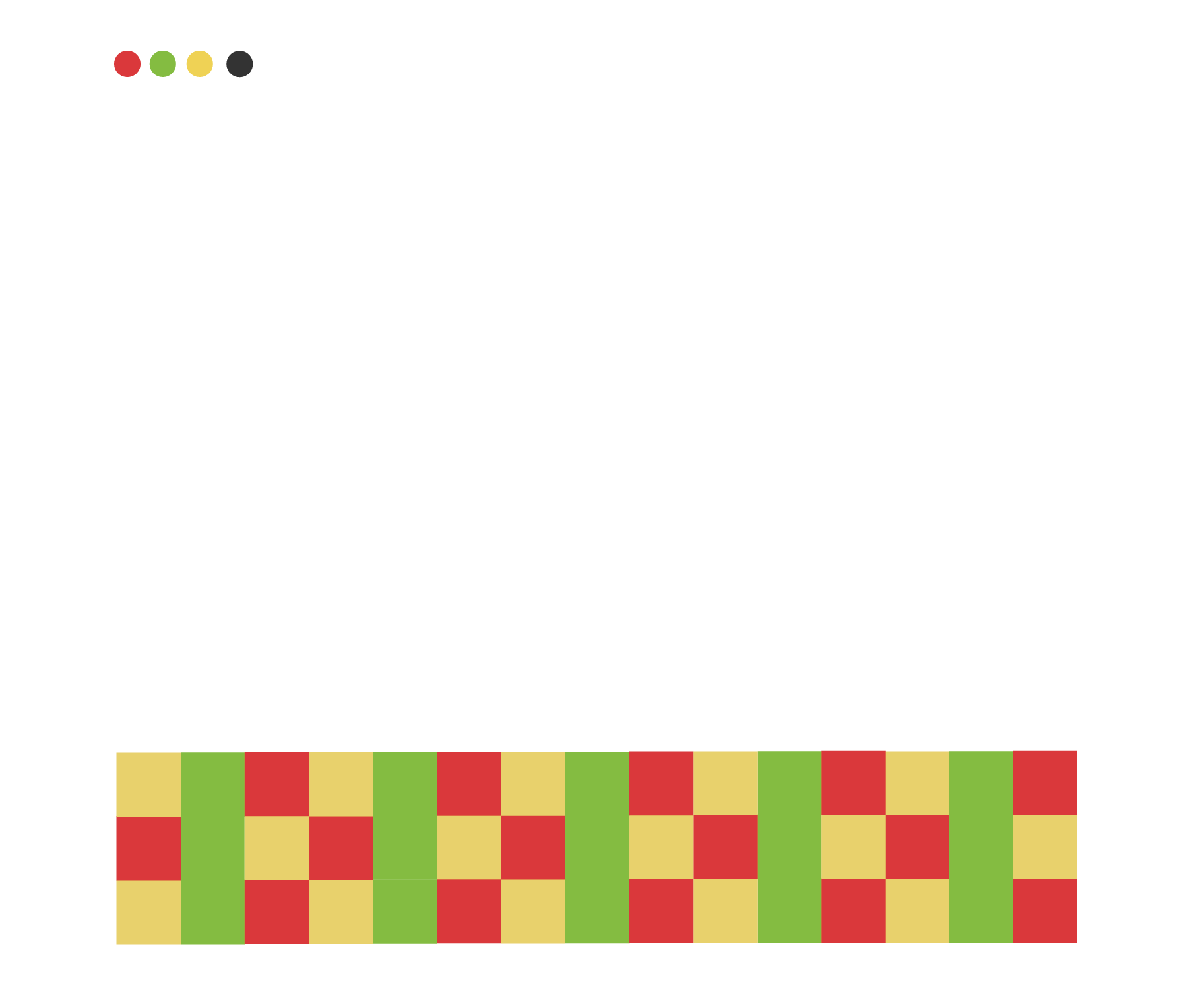 The Colour Pallet, font choices and graphic elements for the Dana's Brand