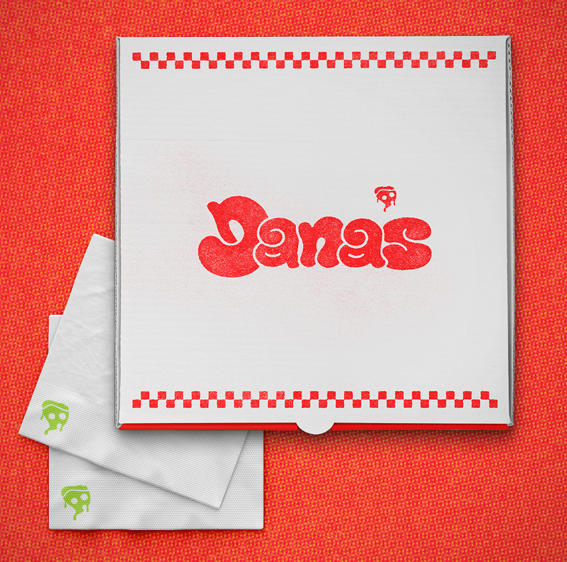 a pizza box displaying the name Dana's and two napkins